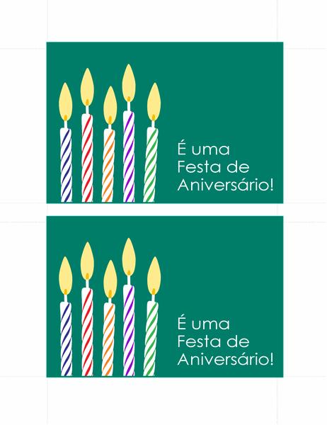Cartões-postais de convite de aniversário (dois por página)