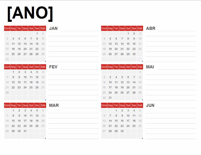 Calendário de qualquer ano