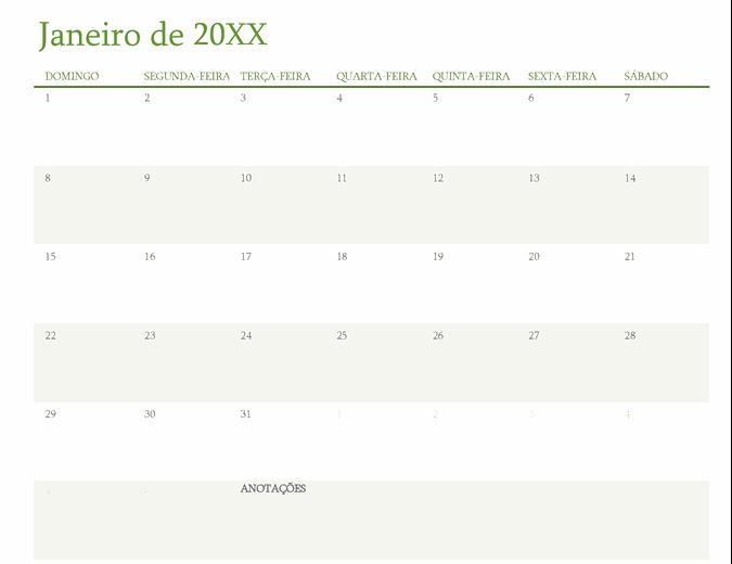 Calendário para qualquer ano (um mês por guia)