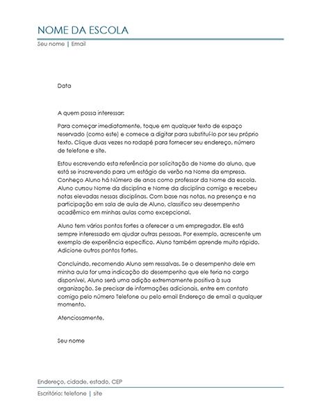 Carta de referência do professor