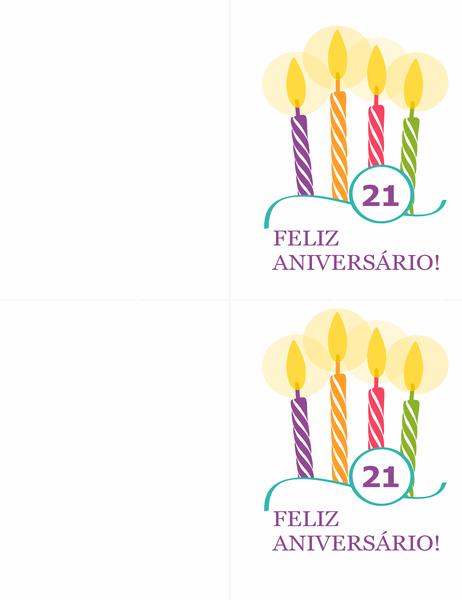 Cartões de marcos de aniversário (dois por página para Avery 8315)