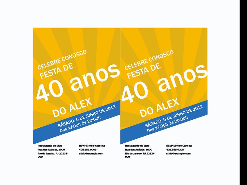 Convite de aniversário (design de raios azuis em dourado)