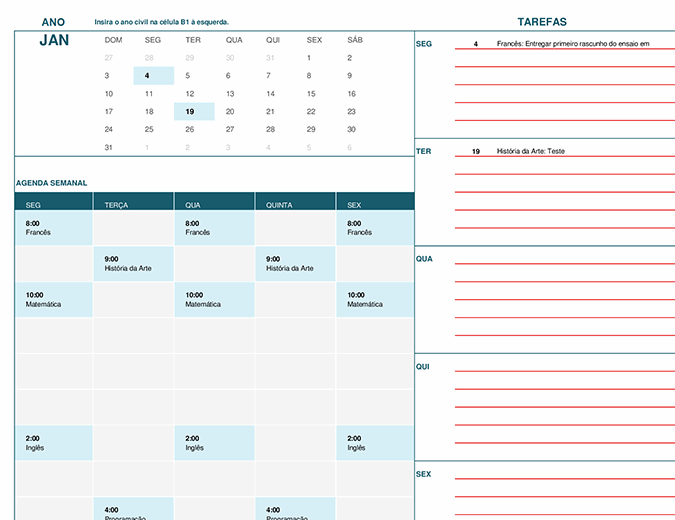 Calendário do aluno (domingo)