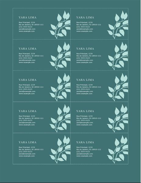 Cartões de visita pessoais com motivo floral