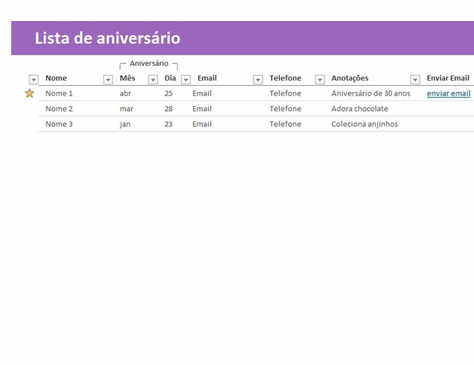 Lista de aniversário
