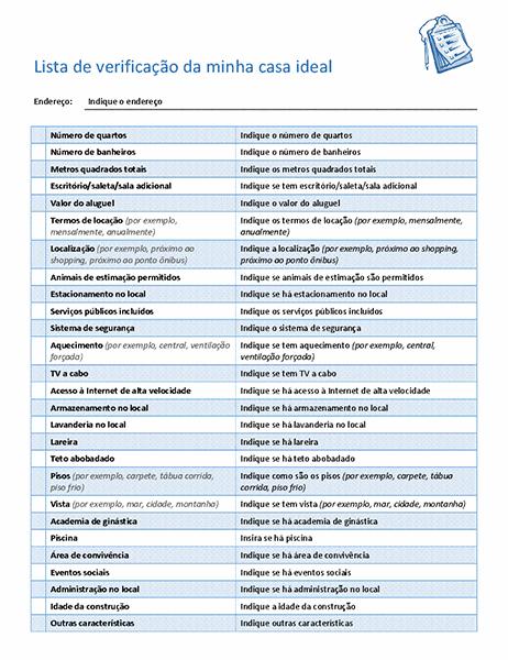 Lista de verificação para escolher a casa ideal