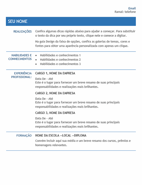 Currículo para transferência interna da empresa