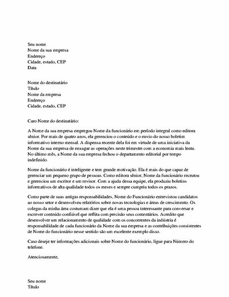 Carta de referência para funcionário profissional
