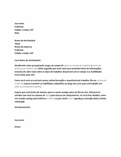 Carta solicitando entrevista informativa