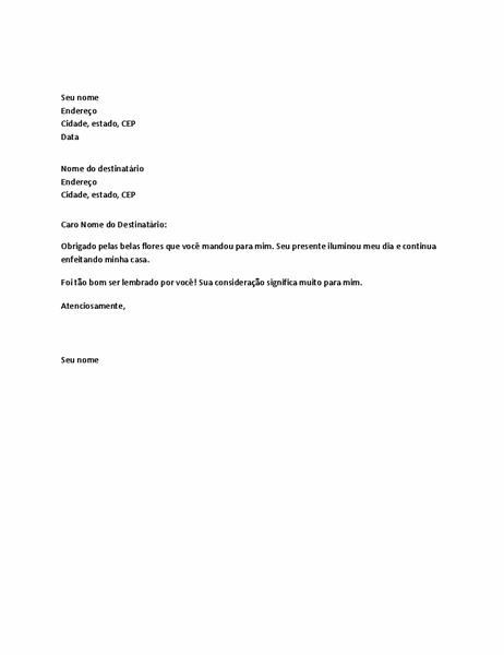 Carta de agradecimento para presente pessoal