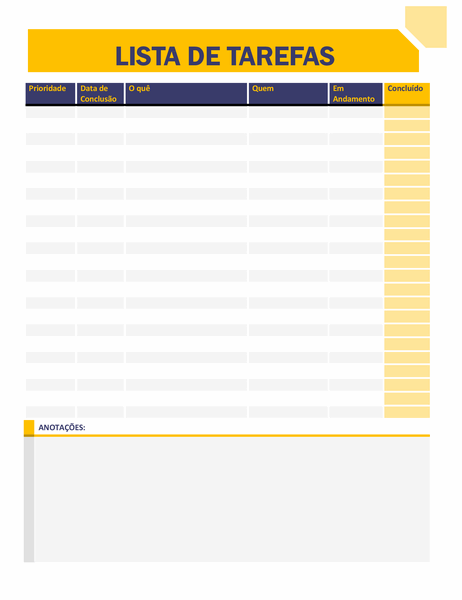 Lista de tarefas pendentes