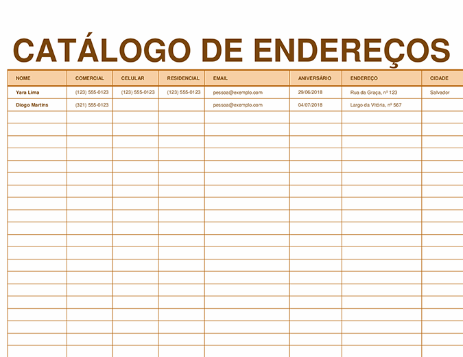 Catálogo de endereços
