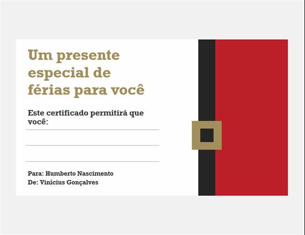 Certificados de presente natalino (design espírito de Natal, 3 por página)