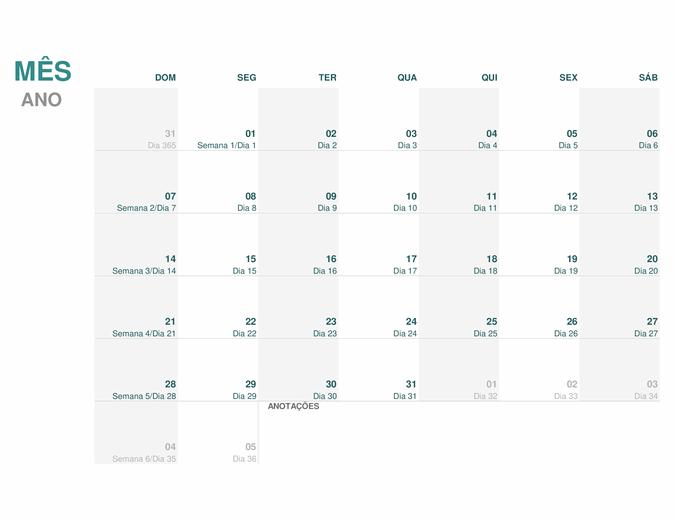 Calendário Juliano (todos os anos)