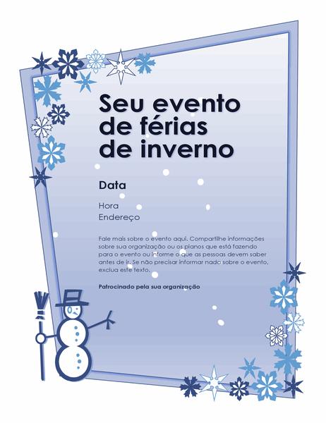 Panfleto de evento de férias de inverno