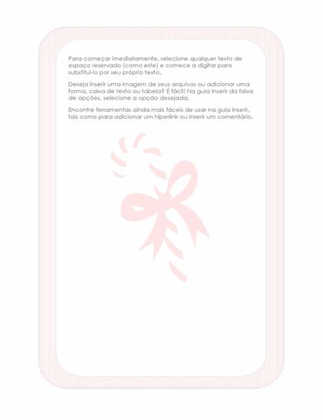 Papel de carta de feriados (com marca d'água de bengala de açúcar)