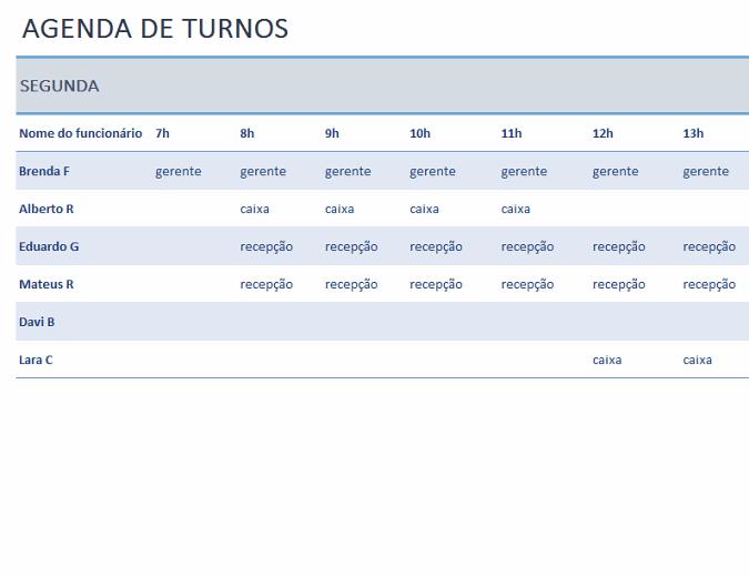 Agenda de turnos semanal dos funcionários