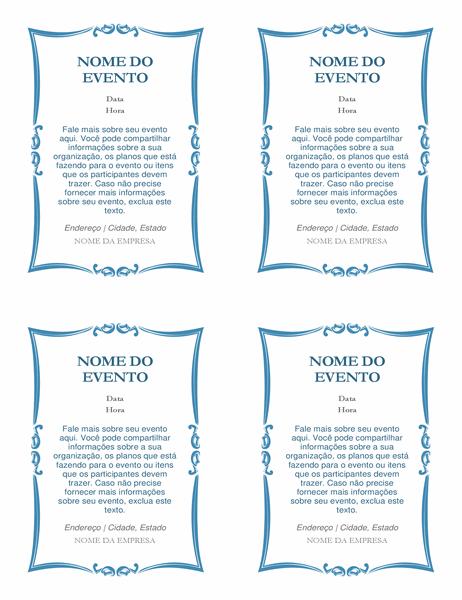 Convites para evento (quatro por página)