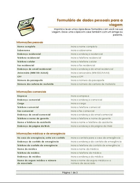 Formulário de itinerário de viagem e dados pessoais
