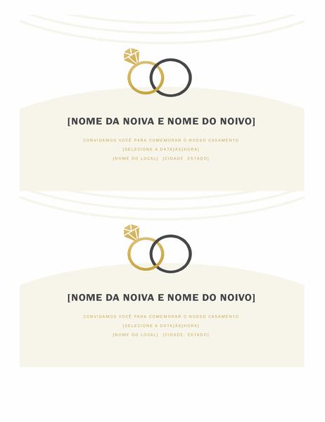 Convites de casamento (design deco, 2 por página)