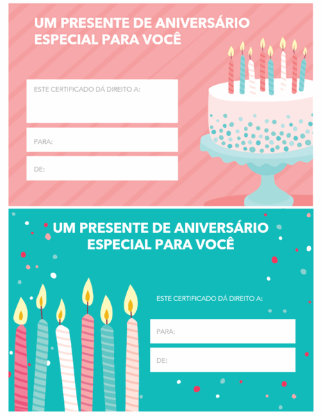 Certificado de presente de aniversário (design claro)