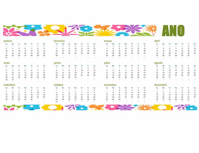Calendário divertido para todos os anos