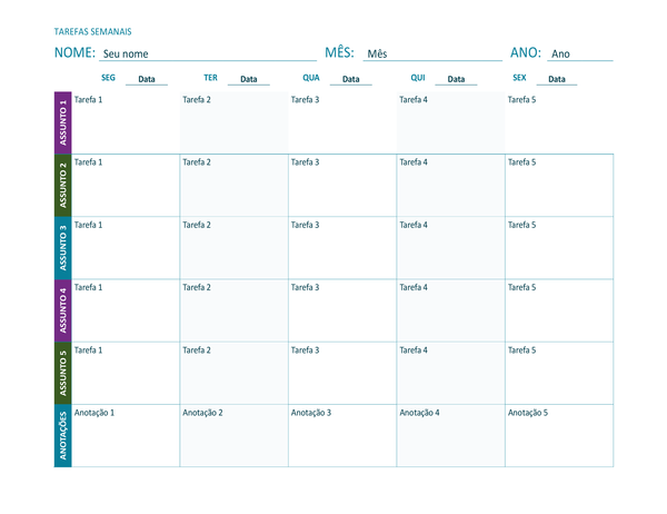 Planilha de tarefa semanal (colorida, paisagem)