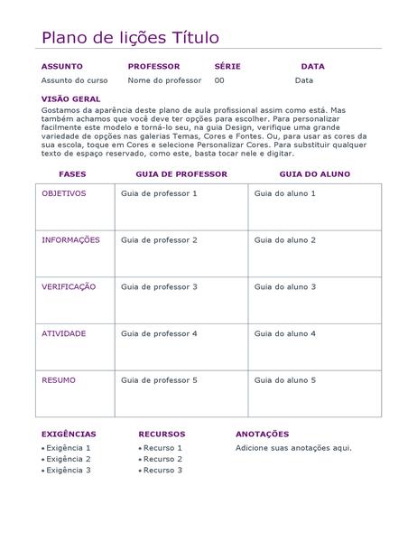 Planejador de lições diárias (colorido)