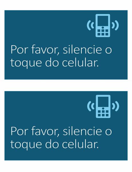 Sinalização de proibição de celular (2 por página)