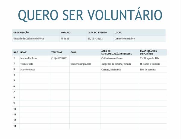 Ficha de inscrição de voluntários
