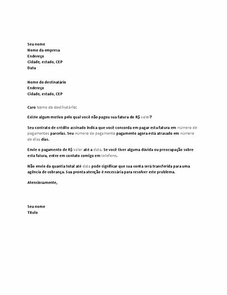 Carta solicitando pagamento de conta vencida
