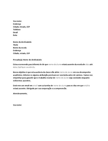 Carta notificando a escola da ausência futura do aluno