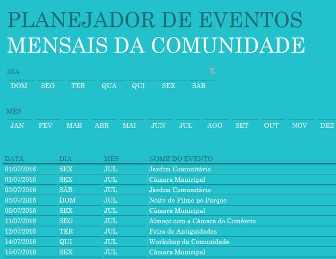 Planejador de eventos da comunidade