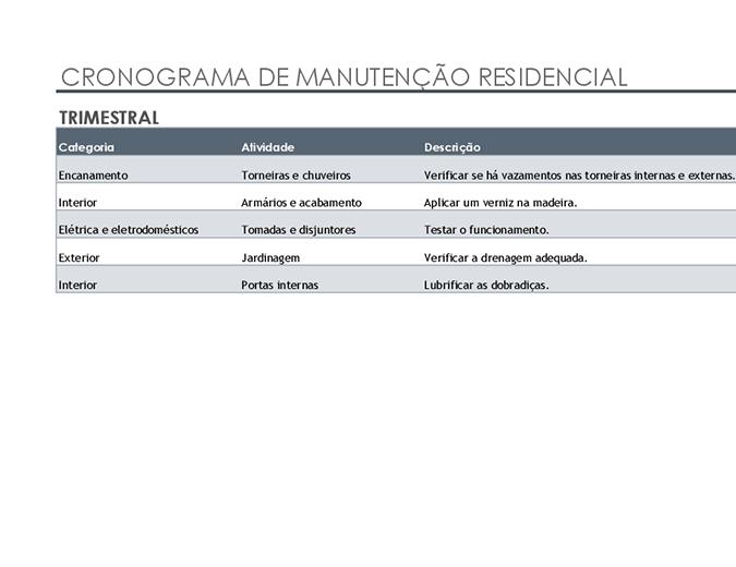 Lista de tarefas e cronograma de manutenção residencial