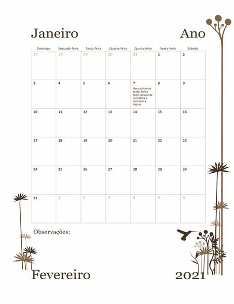Calendário Beija-flor de 12 meses (dom–sáb)