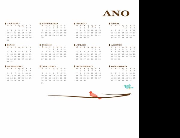 Calendário anual de pássaros em um galho (dom-sáb)