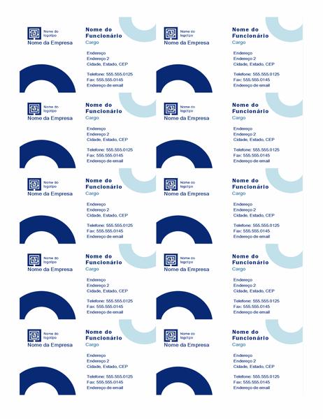 Cartões de visita (design de arco, 10 por página)