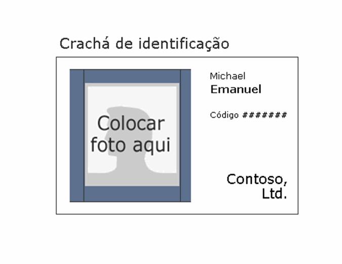 Crachá de identificação do funcionário (paisagem)