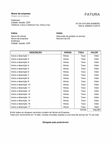 Fatura de serviços com horas e taxa