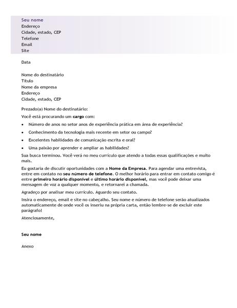 Carta de apresentação para currículo básico