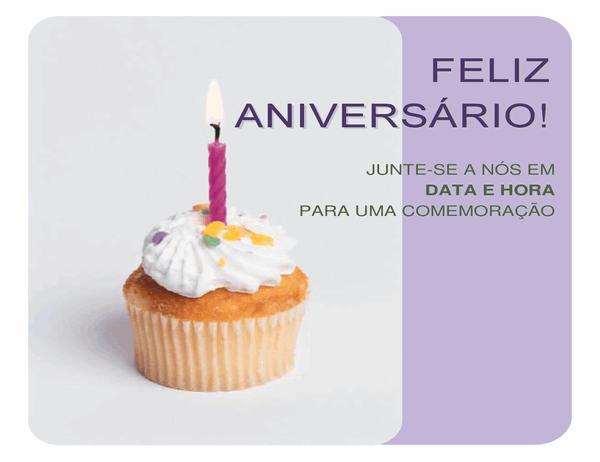 Panfleto de convite de aniversário (com um cupcake)