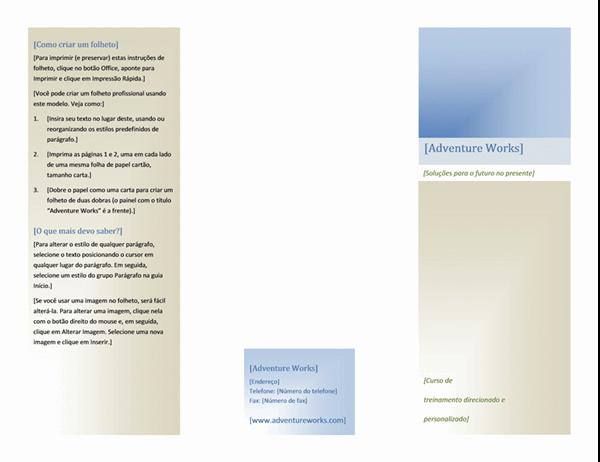 Folheto (8 1/2 x 11 pol., paisagem, 2 dobras)