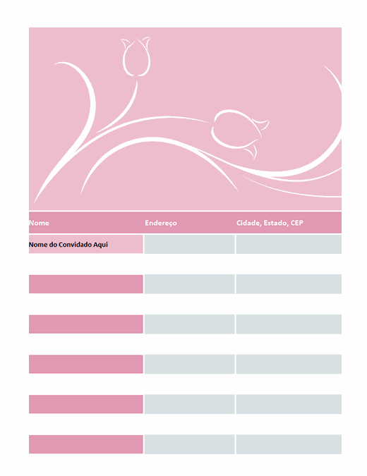 Lista de convidados de casamento (design de tulipas)