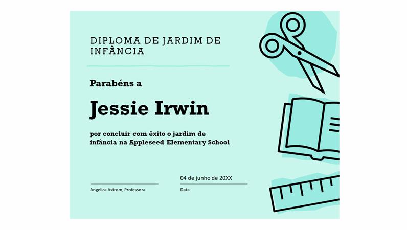 Certificado do diploma do jardim de infância