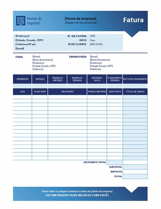 Fatura de vendas (design de Gradiente Azul)