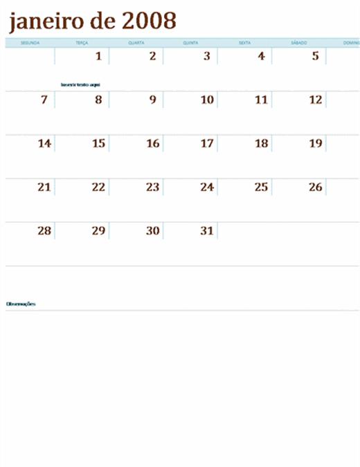Calendário 2008 em várias planilhas (12 pp., Seg-Dom)
