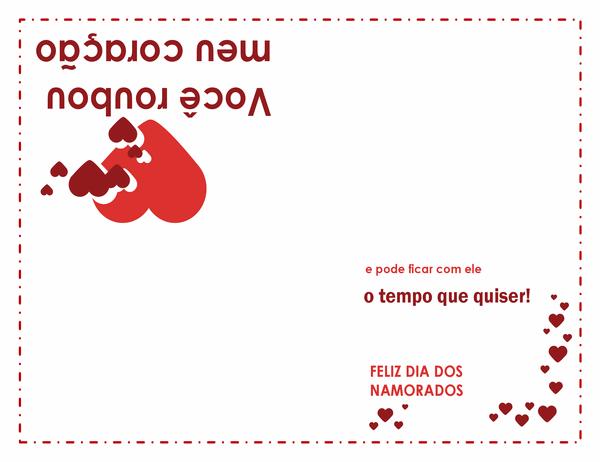 Cartão de Dia dos Namorados (desenho de coração, dobra em quatro partes)