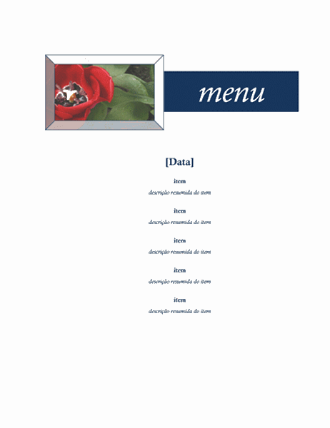 Menu de festa (design floral)