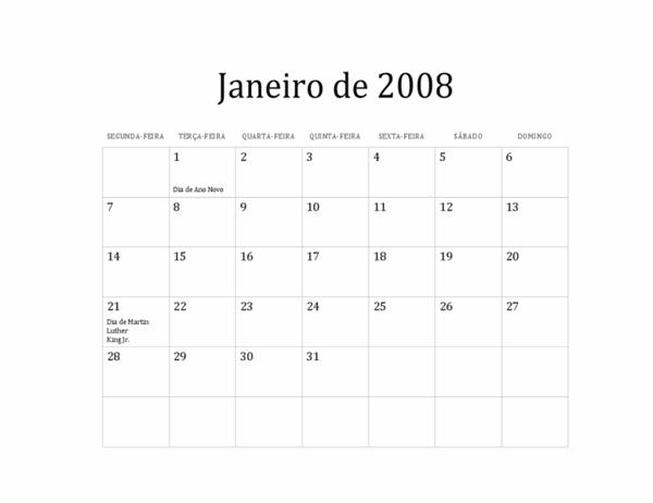 Calendário 2008 (design básico, Seg-Dom)