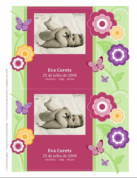 Cartões fotográficos de aviso de nascimento (design de flores)